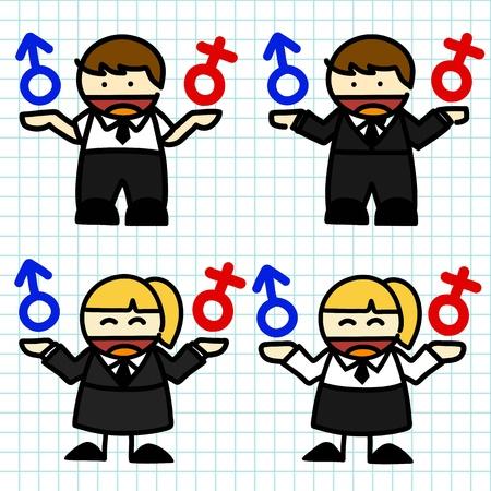 tik: Business man and woman cartoon. vector