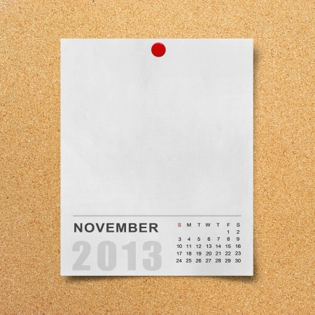 Calendar 2013 on blank note paper background. photo