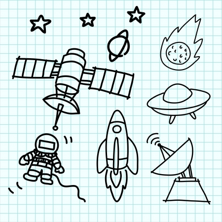 Space set hand draw on blue graph paper. Vector