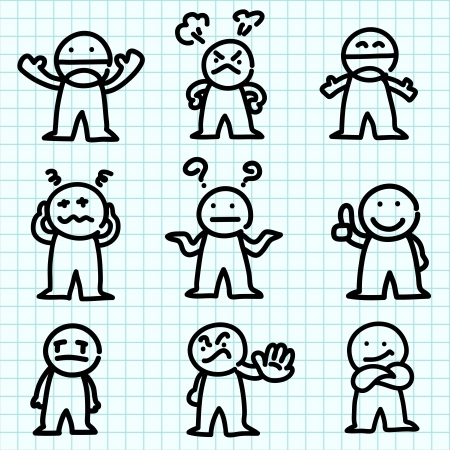 cartoon emotions: Emotion cartoon on blue graph paper.