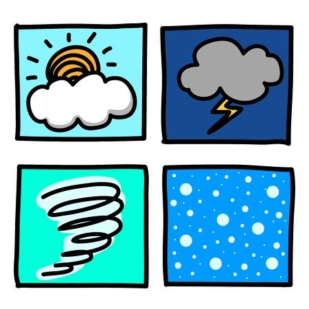 lowbrow: Weather Hand draw cartoon.Illustrator