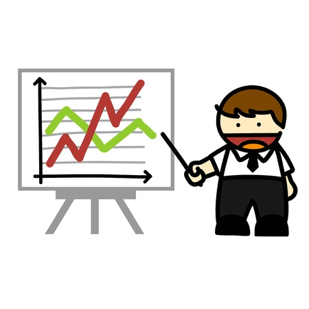 hand writing: Business people and  business graph cartoon. Illustration