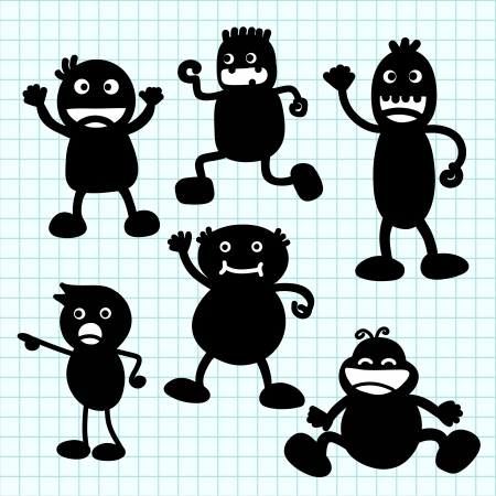 Kids silhouette hand writing cartoon .Illustration Vector