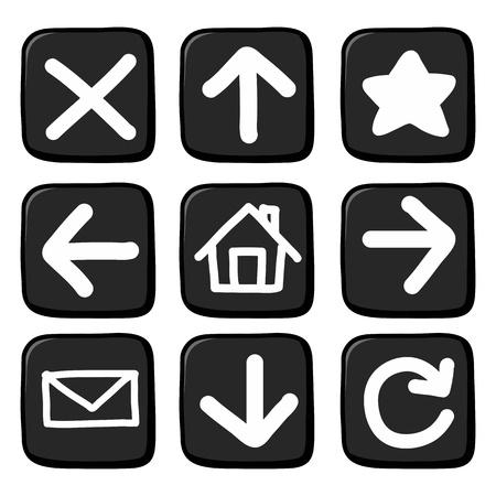 toolbar:  Hand draw icon set.Illustration