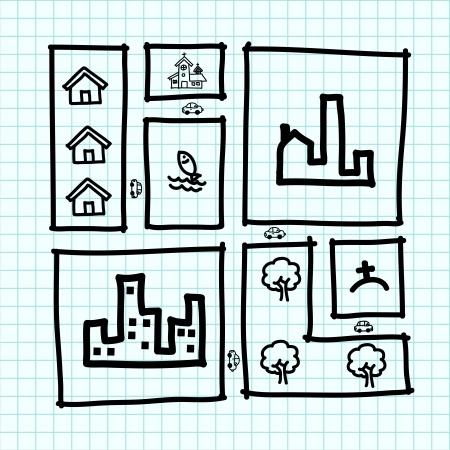 zoning: Hand draw city map , zoning .Illustration