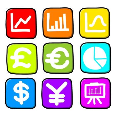 yen sign:  Hand draw icon set.Illustration
