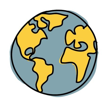 earth in hand: Tierra del planeta escritura de la mano de dibujos animados.
