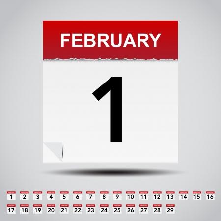 february 1: Calendar on white paper note  Illustration Illustration