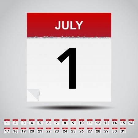 calendario julio: Calendario en blanco Ilustraci?n nota de papel