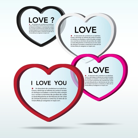 i love you symbol: Abstract 3D heart speech bubble background.
