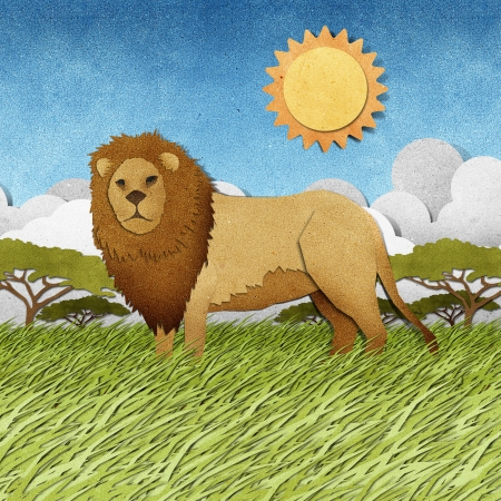 grassland: Lion made from recycled papercraft background Stock Photo
