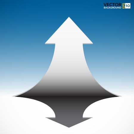 think up:   Abstract 3D  arrow on blue sky background.  Illustration