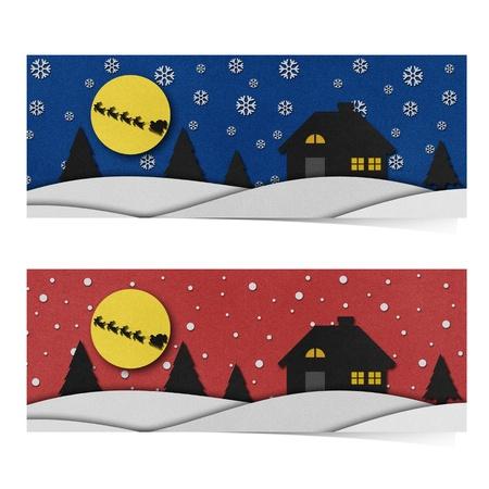 papercraft: Christmas night  recycled papercraft background. Stock Photo