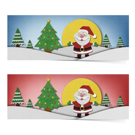 Santa claus recycled paper craft background. photo