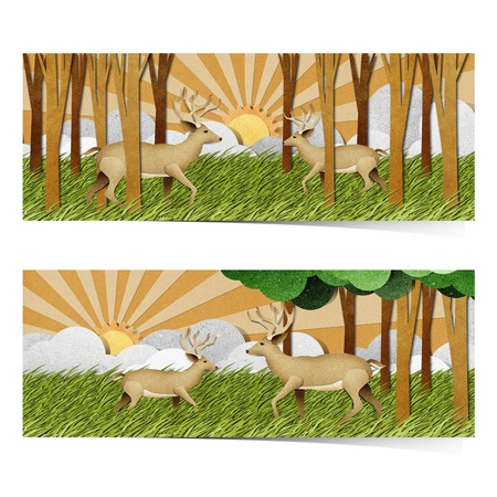 national park: Deer made from recycled paper background Stock Photo