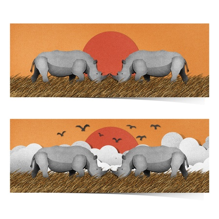 national park: Rhino made from recycled paper background