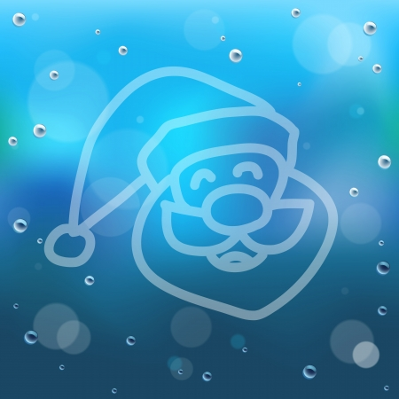 comin: Santa clause hand draw on glass and water drop EPS10