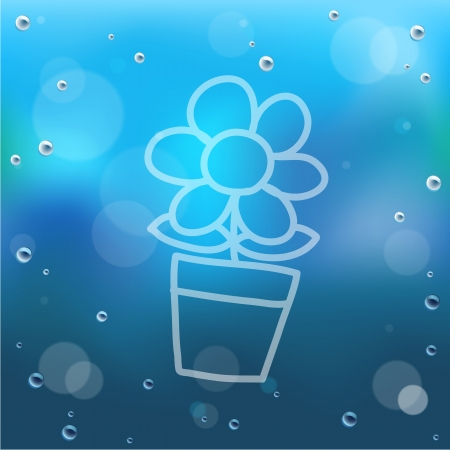 Hand draw cartoon and water drop on glass.EPS10 Vector