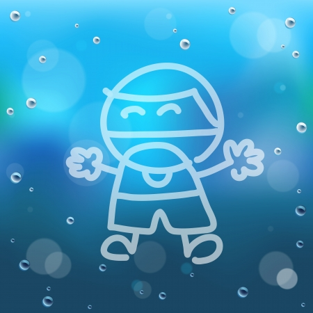 steamy: Hand draw cartoon and water drop on glass.EPS10 Illustration