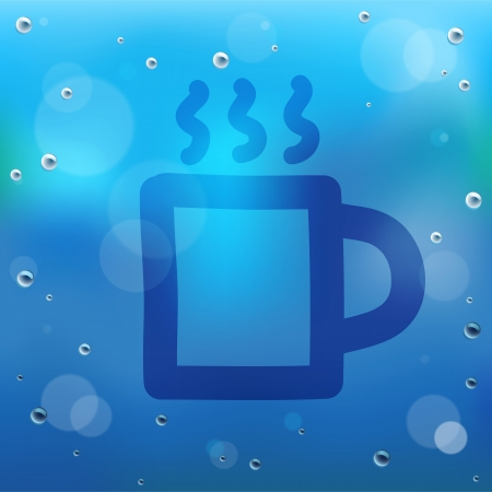 steamy: Hand draw cartoon and water drop on glass.