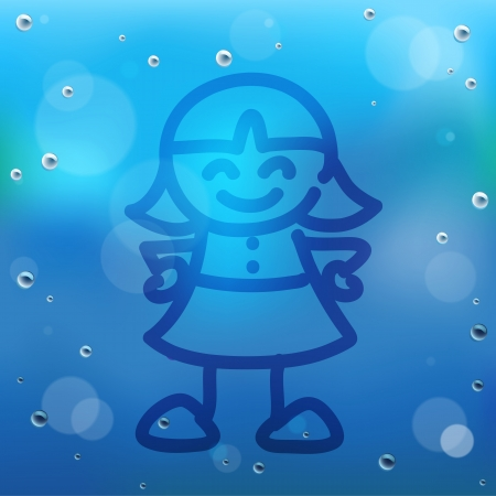 Hand draw cartoon and water drop on glass. Vector