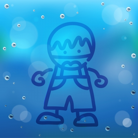 l boy: Hand draw cartoon and water drop on glass.