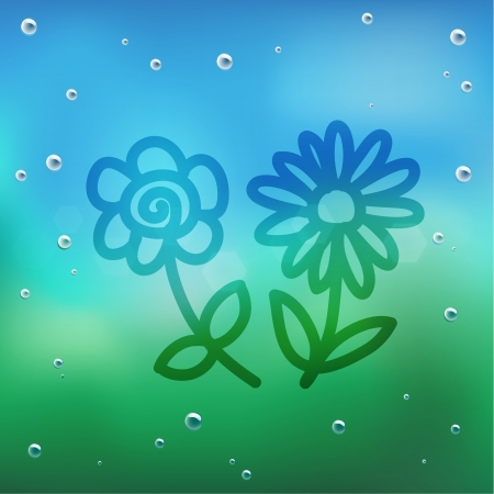 Hand draw cartoon and water drop on glass Stock Vector - 16987567
