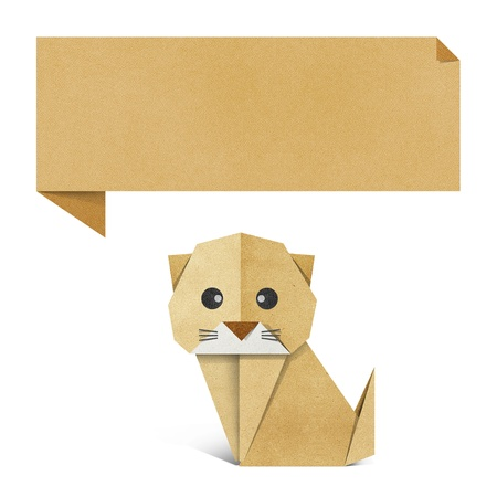 Origami cat recycled paper background Stock Photo - 17018362