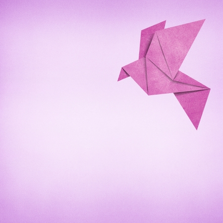 Origami bird recycled paper background Stock Photo - 17018333