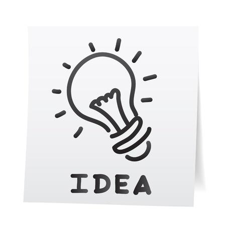 bombilla: Mano de dibujos animados empate en las etiquetas adhesivas de papel de nota. Vectores