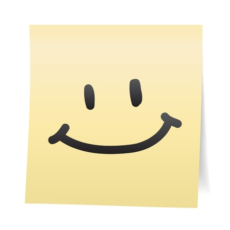 happy face: Hand draw cartoon on paper note stickers.