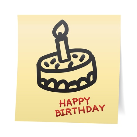 verjaardag frame: De hand trekt cartoon op papier noot stickers