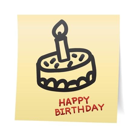 pastel feliz cumplea�os: Mano de dibujos animados empate en las etiquetas adhesivas de papel de nota Vectores
