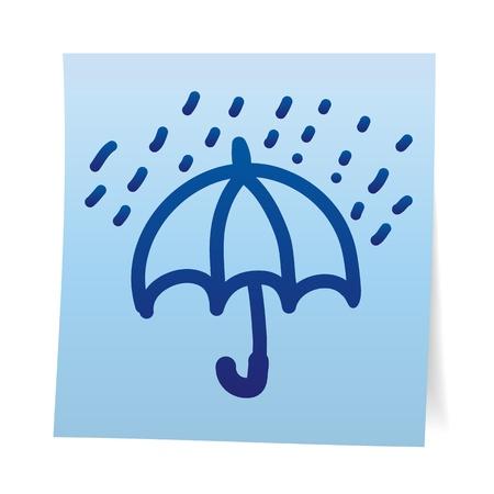 yellow umbrella: Hand draw cartoon on paper note stickers