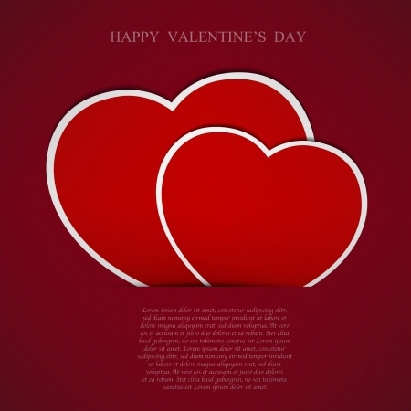 Red Heart paper background. Vector