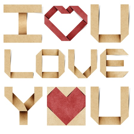 I love you alphabet and red heart  recycled papercraft. photo