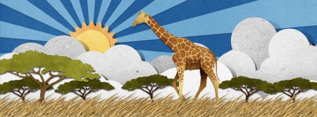 grassland: Giraffe made from recycled papercraft background