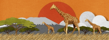 papercraft: Giraffe made from recycled papercraft background