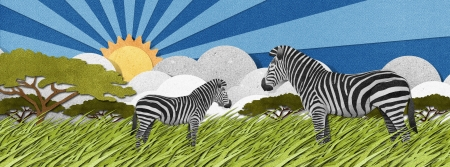 Zebra made from recycled papercraft background photo