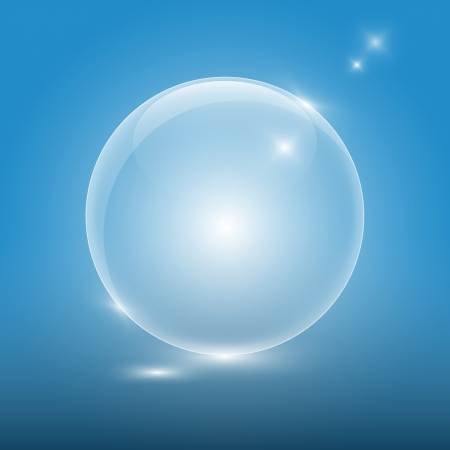 Transparent glass ball on blue background Vector