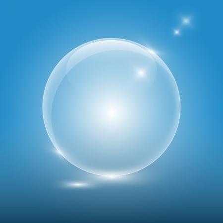 Transparente Glaskugel auf blauem Hintergrund Standard-Bild - 17421601