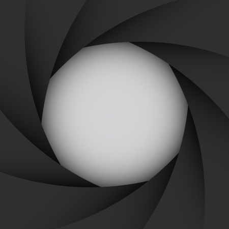 camera lens: Black camera shutter background Illustration