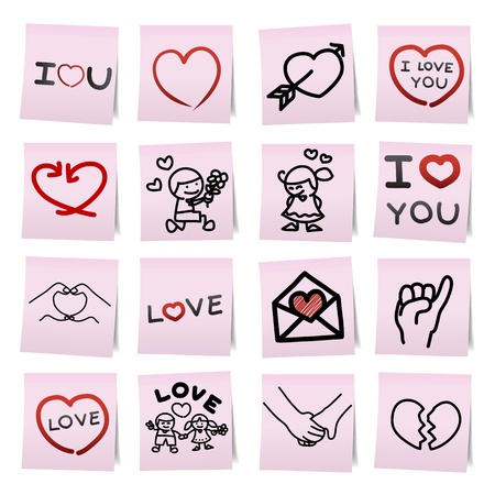 love you: Hand draw cartoon on paper note stickers.