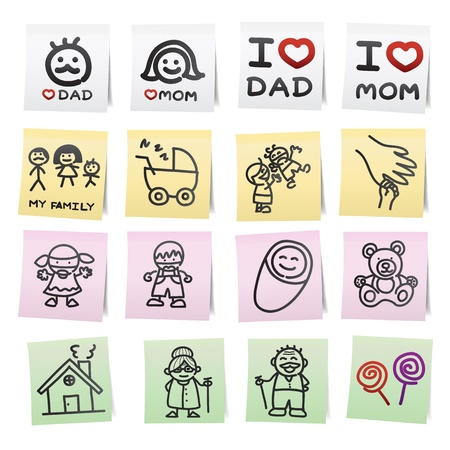 baby grand: Hand draw cartoon on paper note stickers.eps10