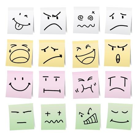 cara triste: Mano de dibujos animados empate en las etiquetas adhesivas de papel de nota. Vectores