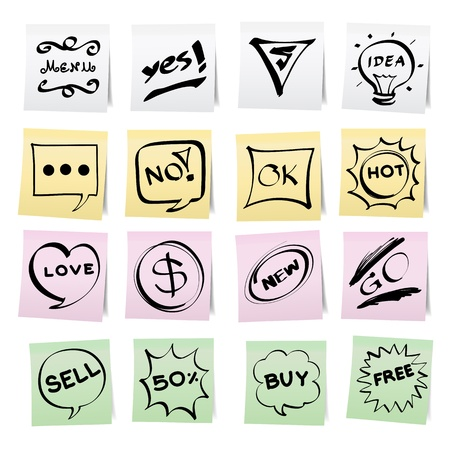 Hand draw cartoon on paper note stickers. Vector