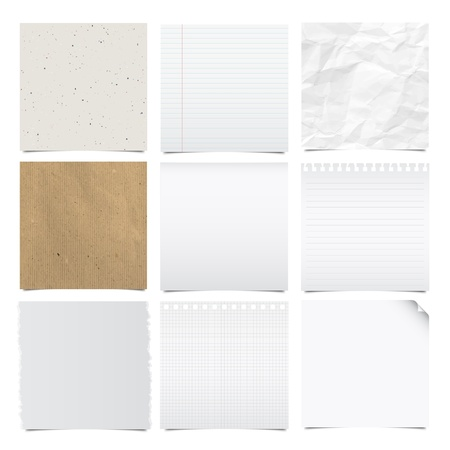 Collection of note papers background ,Illustration  Vector