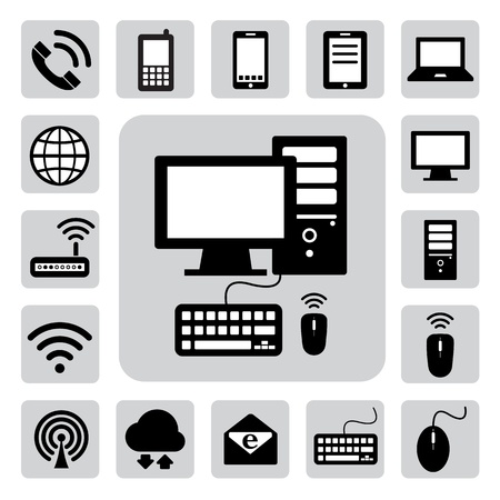 envelop: Mobile devices , computer and network connections icons set. Illustration