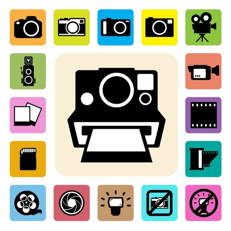 photo camera: camera and Video icons set