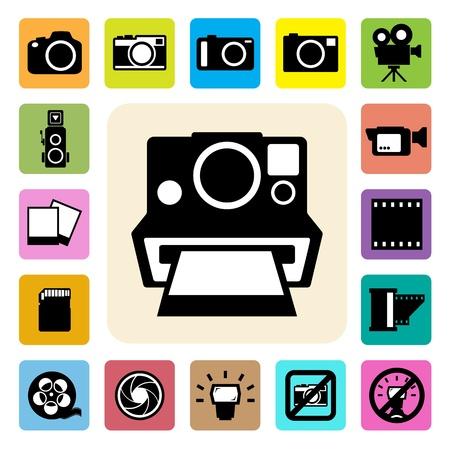 no cell: iconos de c�mara y configuraci�n de video Vectores